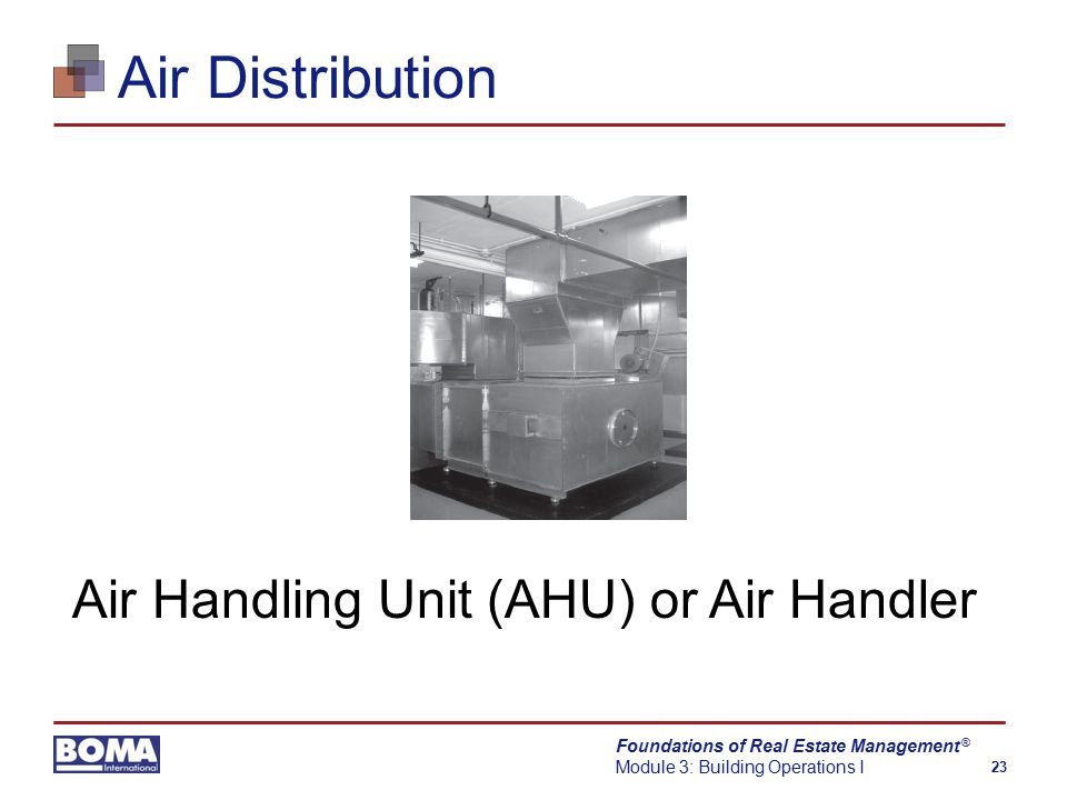 Foundations of Real Estate Management Module 3: Building Operations I 23 ® Air Distribution Air Handling Unit (AHU) or Air Handler