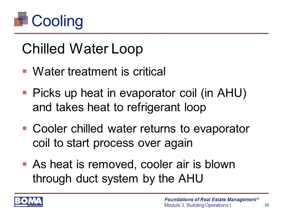 Foundations of Real Estate Management Module 3: Building Operations I 51 ® Cooling Chilled Water Loop  Water treatment is critical  Picks up heat in evaporator coil (in AHU) and takes heat to refrigerant loop  Cooler chilled water returns to evaporator coil to start process over again  As heat is removed, cooler air is blown through duct system by the AHU