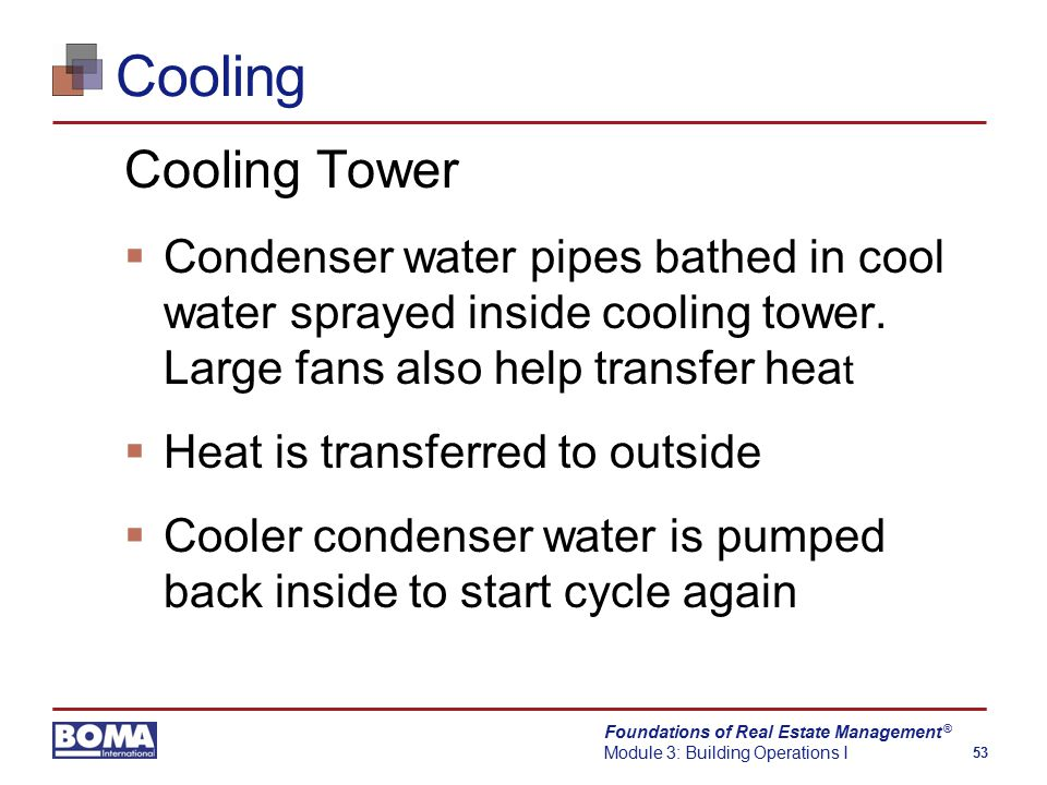 Foundations of Real Estate Management Module 3: Building Operations I 53 ® Cooling Cooling Tower  Condenser water pipes bathed in cool water sprayed inside cooling tower.