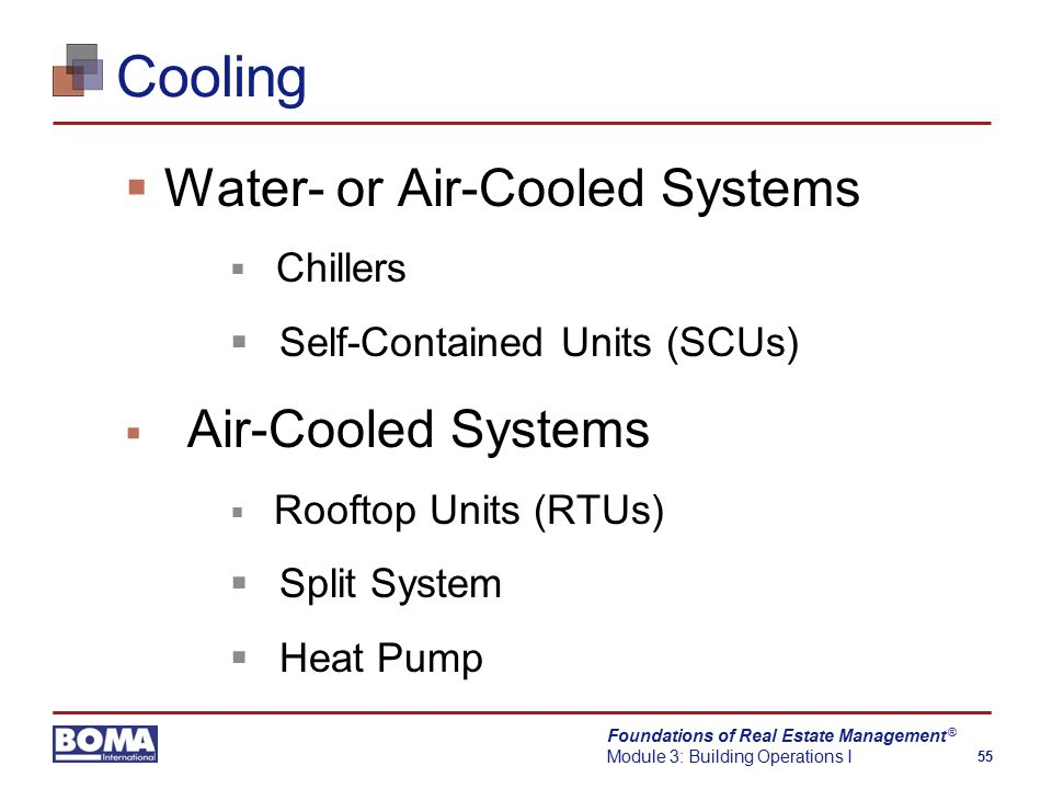 Foundations of Real Estate Management Module 3: Building Operations I 55 ® Cooling  Water- or Air-Cooled Systems  Chillers  Self-Contained Units (SCUs)  Air-Cooled Systems  Rooftop Units (RTUs)  Split System  Heat Pump
