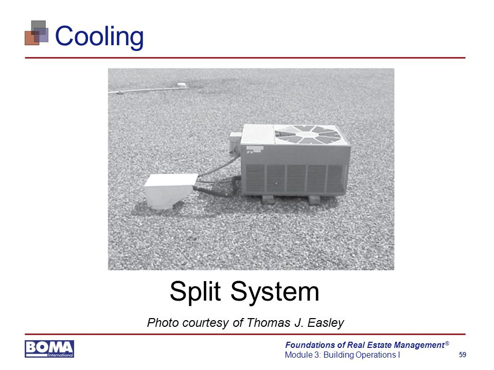 Foundations of Real Estate Management Module 3: Building Operations I 59 ® Cooling Split System Photo courtesy of Thomas J.