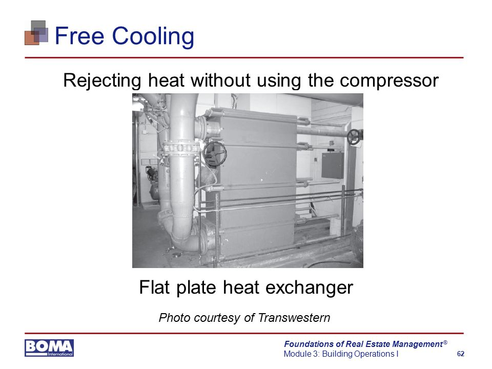 Foundations of Real Estate Management Module 3: Building Operations I 62 ® Free Cooling Rejecting heat without using the compressor Flat plate heat exchanger Photo courtesy of Transwestern