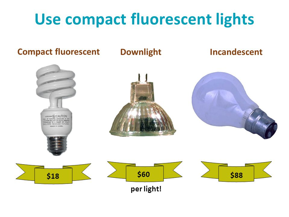 Use compact fluorescent lights $88 $60 per light! $18 DownlightIncandescent Compact fluorescent