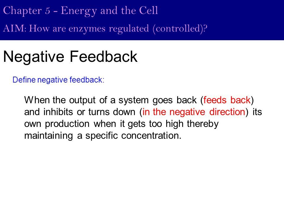 Negative Feedback Chapter 5 - Energy and the Cell AIM: How are enzymes regulated (controlled).