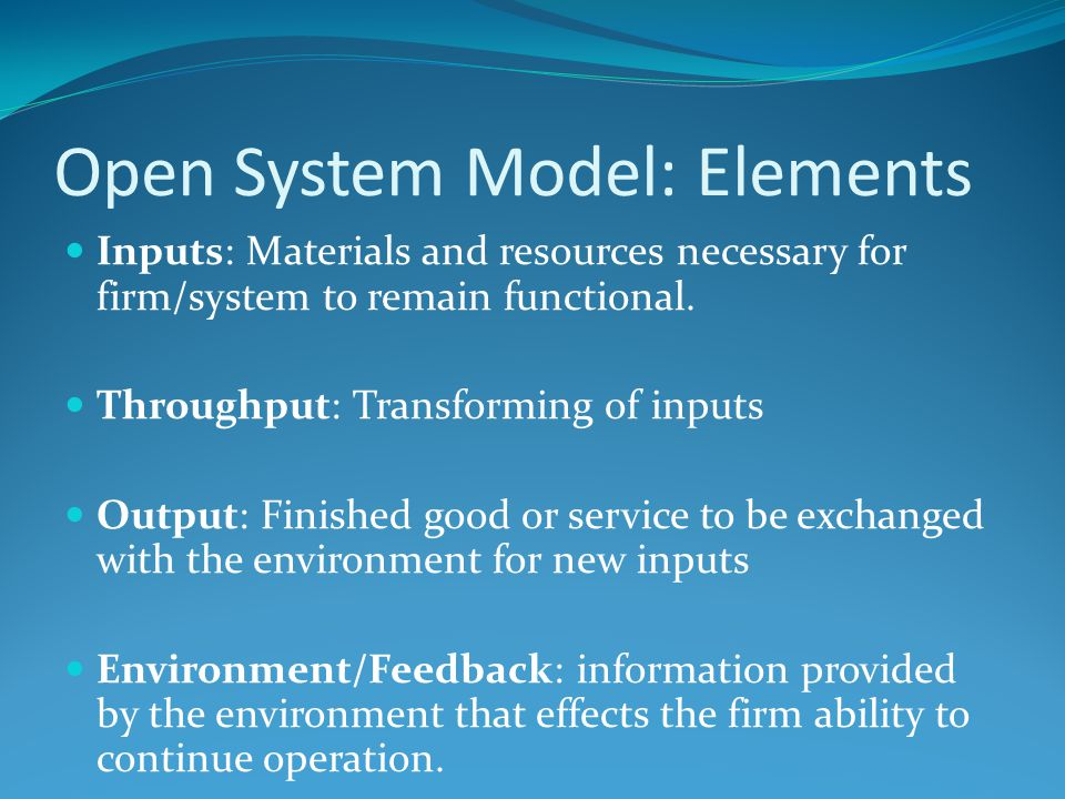 Open System Model: Elements Inputs: Materials and resources necessary for firm/system to remain functional.