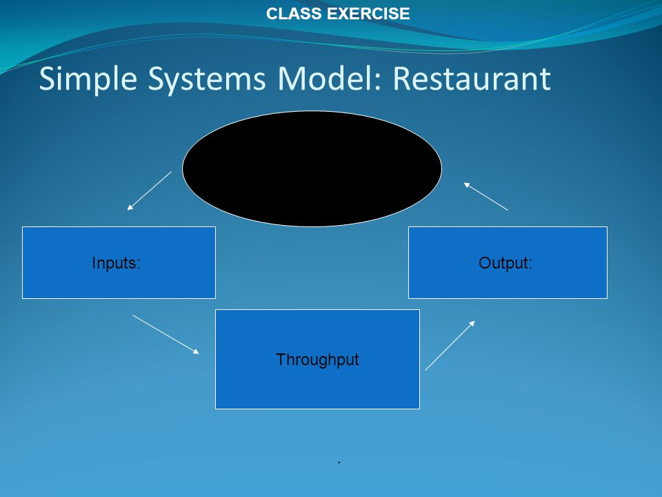 Simple Systems Model: Restaurant Inputs: Throughput Output: Environment:. CLASS EXERCISE
