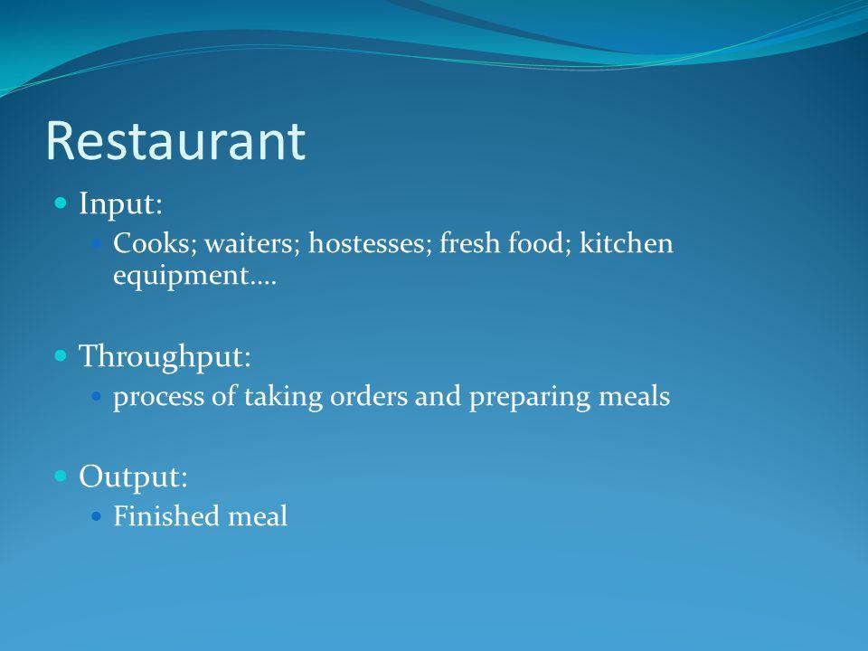 Restaurant Input: Cooks; waiters; hostesses; fresh food; kitchen equipment….