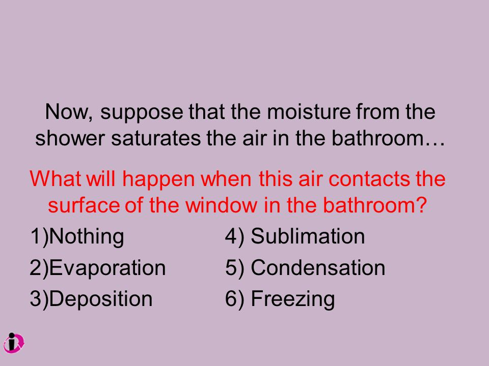 Now, suppose that the moisture from the shower saturates the air in the bathroom… What will happen when this air contacts the surface of the window in