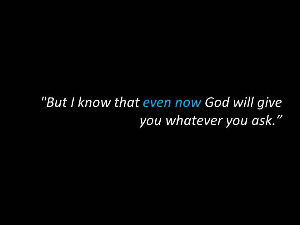 But I know that even now God will give you whatever you ask.