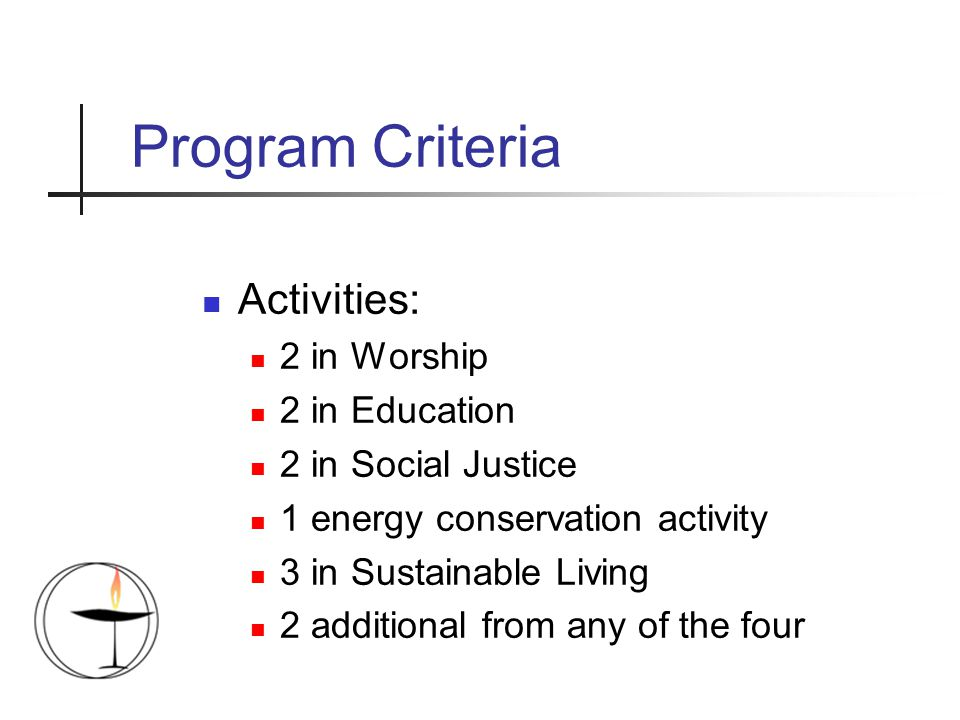 Program Criteria Activities: 2 in Worship 2 in Education 2 in Social Justice 1 energy conservation activity 3 in Sustainable Living 2 additional from