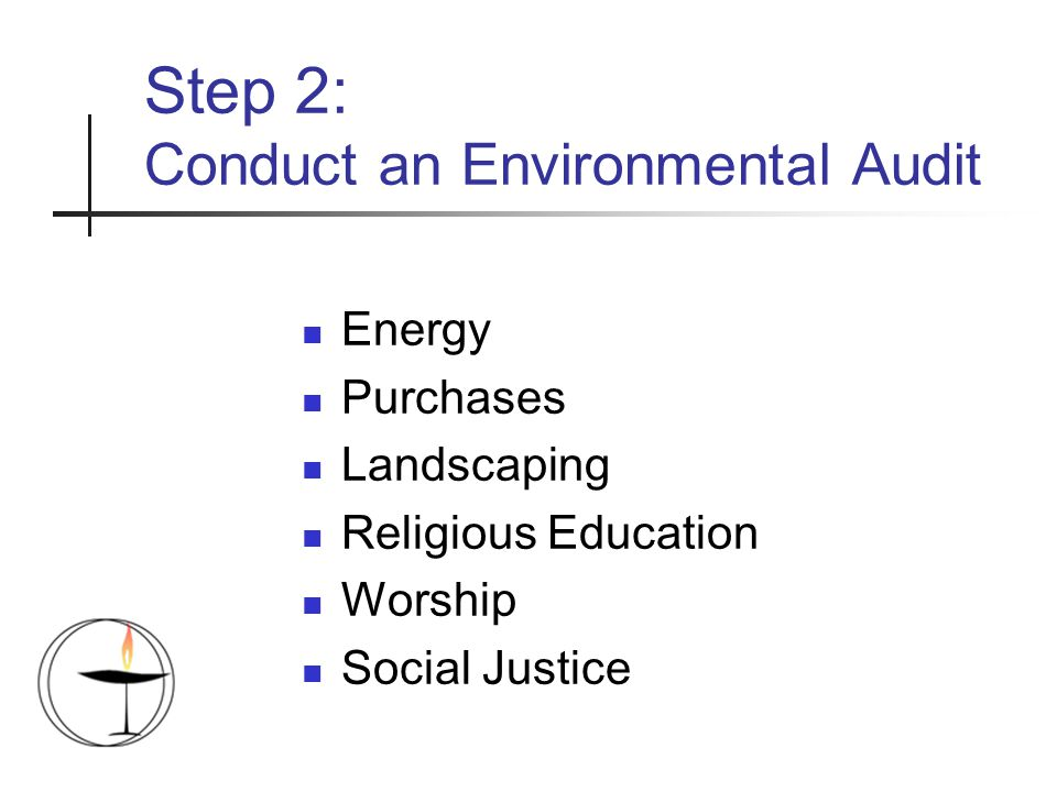 Step 2: Conduct an Environmental Audit Energy Purchases Landscaping Religious Education Worship Social Justice