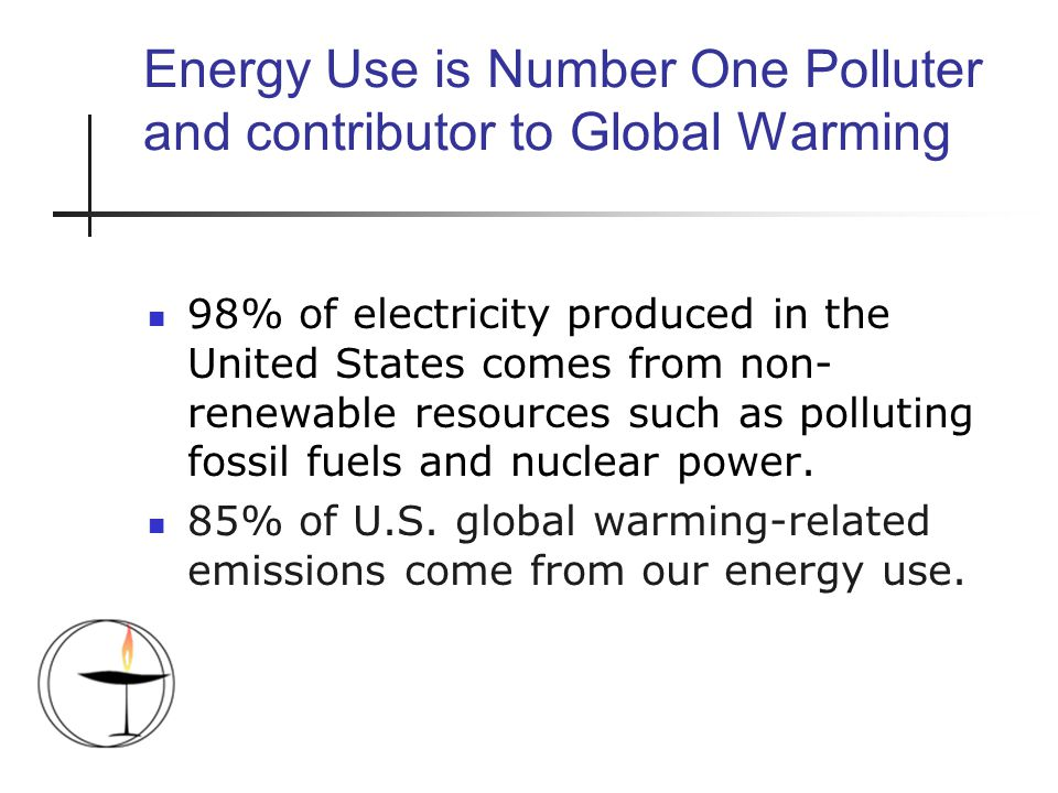 Energy Use is Number One Polluter and contributor to Global Warming 98% of electricity produced in the United States comes from non- renewable resources such as polluting fossil fuels and nuclear power.