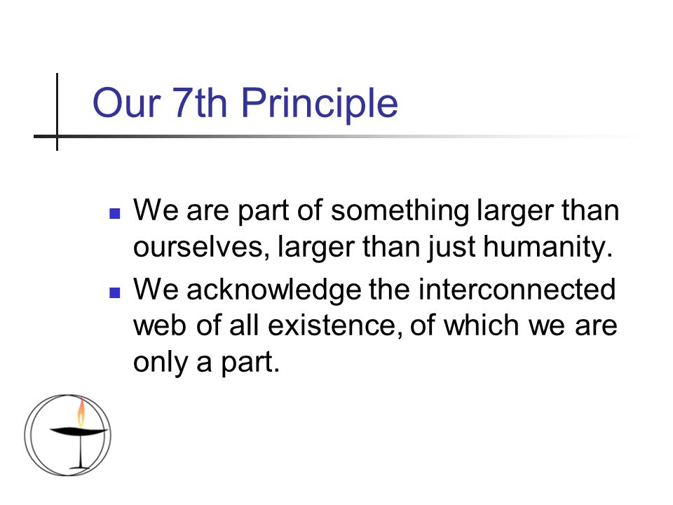 Our 7th Principle We are part of something larger than ourselves, larger than just humanity.