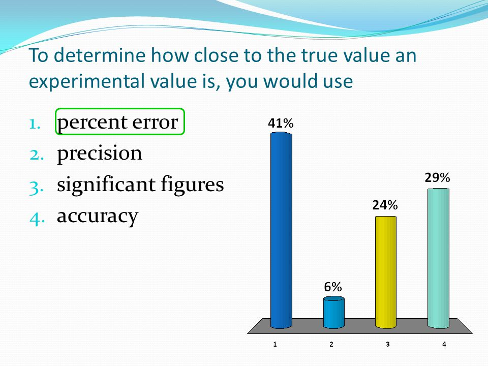 To determine how close to the true value an experimental value is, you would use 1. percent error 2. precision 3. significant figures 4. accuracy