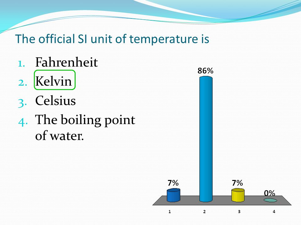 The official SI unit of temperature is 1. Fahrenheit 2. Kelvin 3. Celsius 4. The boiling point of water.
