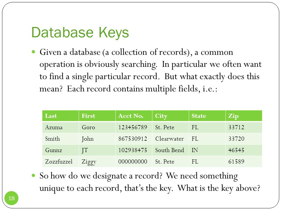Database Keys Given a database (a collection of records), a common operation is obviously searching.
