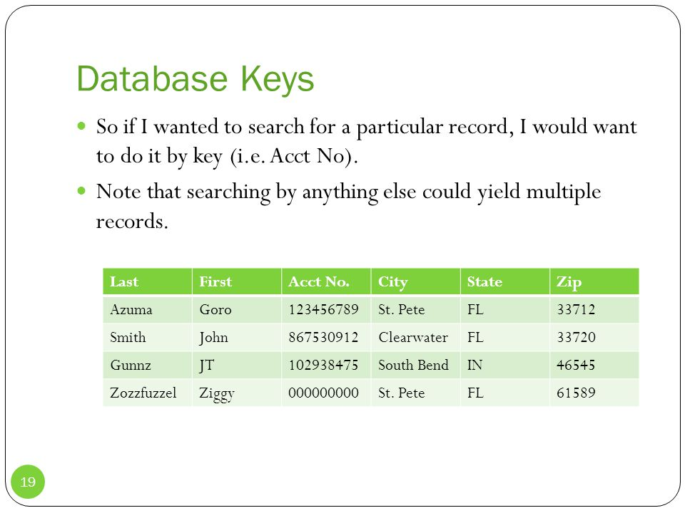 Database Keys So if I wanted to search for a particular record, I would want to do it by key (i.e.