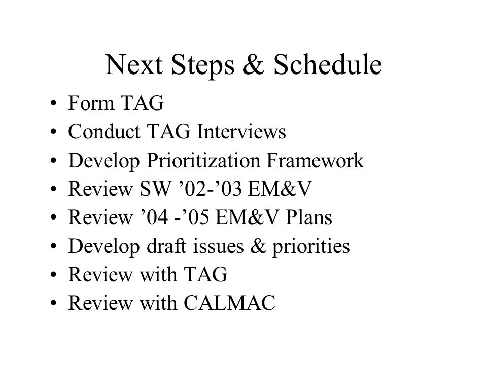 Next Steps & Schedule Form TAG Conduct TAG Interviews Develop Prioritization Framework Review SW '02-'03 EM&V Review '04 -'05 EM&V Plans Develop draft issues & priorities Review with TAG Review with CALMAC