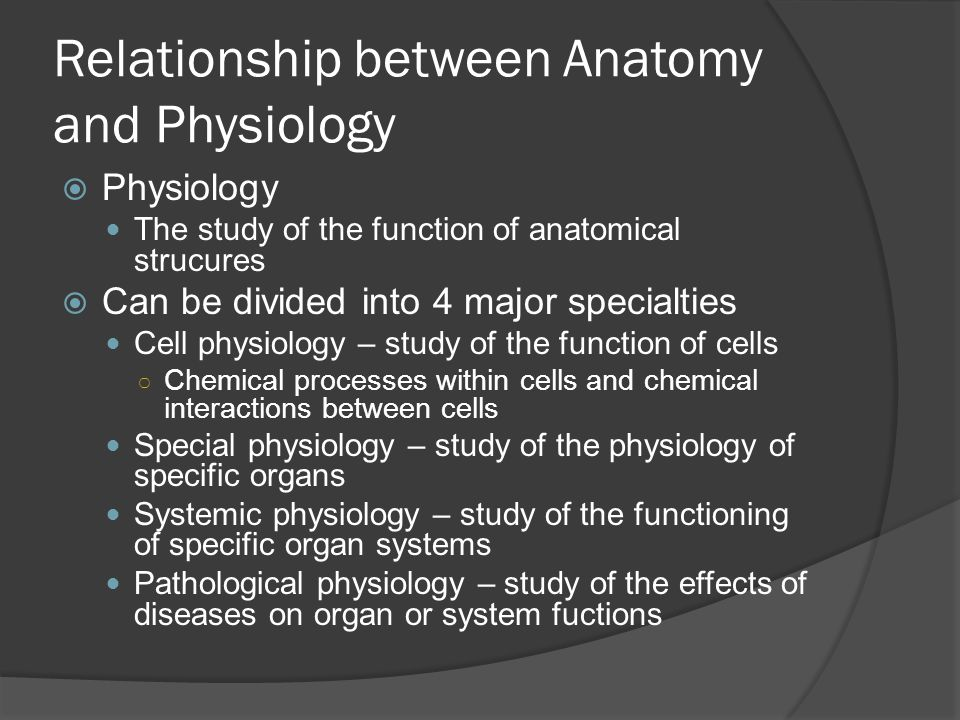 Relationship between Anatomy and Physiology  Physiology The study of the function of anatomical strucures  Can be divided into 4 major specialties Cell physiology – study of the function of cells ○ Chemical processes within cells and chemical interactions between cells Special physiology – study of the physiology of specific organs Systemic physiology – study of the functioning of specific organ systems Pathological physiology – study of the effects of diseases on organ or system fuctions