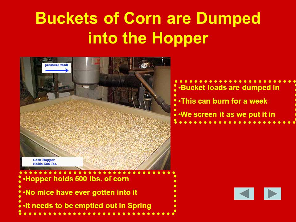 Buckets of Corn are Dumped into the Hopper Hopper holds 500 lbs.