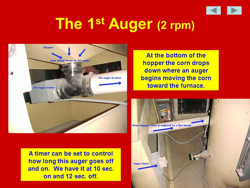 The corn is moved on to the 2 nd auger (4 rpm) Corn drops when it hits the firebreak hole The 2 nd auger then pushes it into to bottom of the firepot The 2 nd auger runs steadily whenever the thermostat calls for heat.
