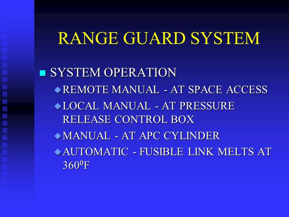 RANGE GUARD SYSTEM n SYSTEM OPERATION u REMOTE MANUAL - AT SPACE ACCESS u LOCAL MANUAL - AT PRESSURE RELEASE CONTROL BOX u MANUAL - AT APC CYLINDER u