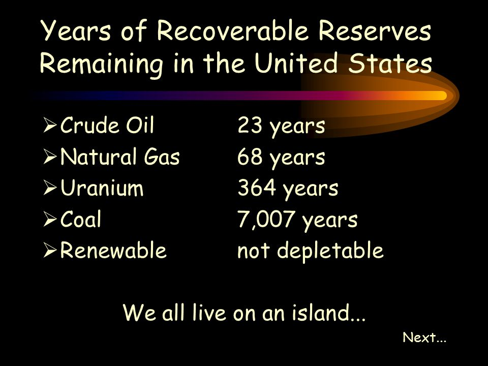Years of Recoverable Reserves Remaining in the United States  Crude Oil23 years  Natural Gas68 years  Uranium364 years  Coal7,007 years  Renewablenot depletable We all live on an island...