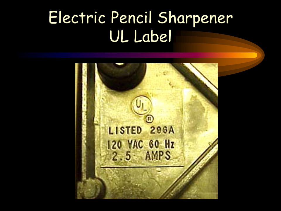 Electric Pencil Sharpener UL Label