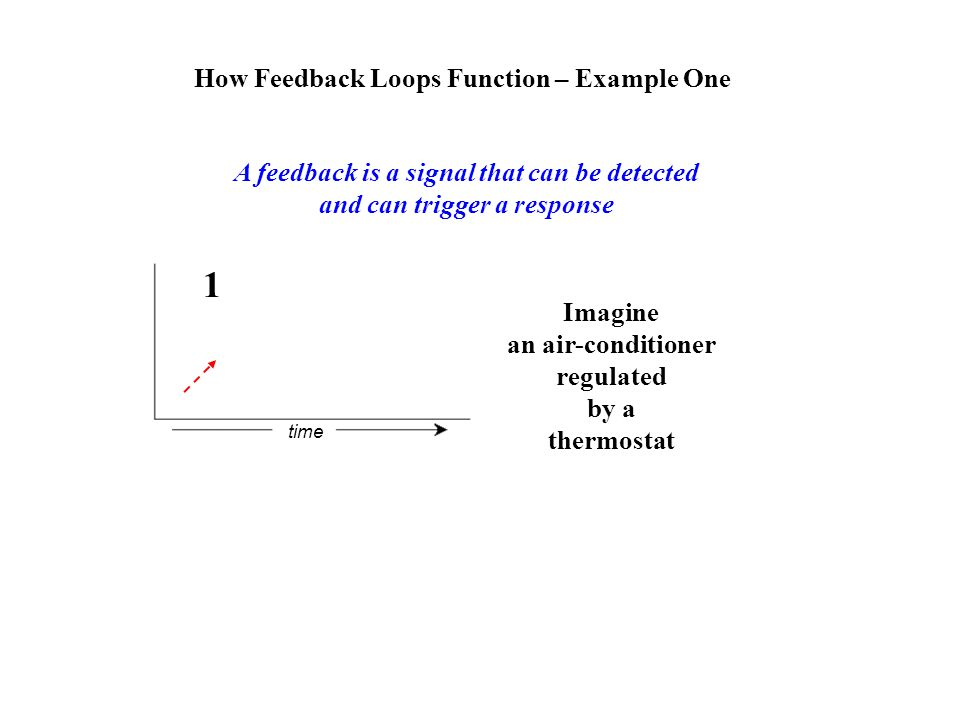 How Feedback Loops Function – Example One A feedback is a signal that can be detected and can trigger a response Imagine an air-conditioner regulated by a thermostat time 1