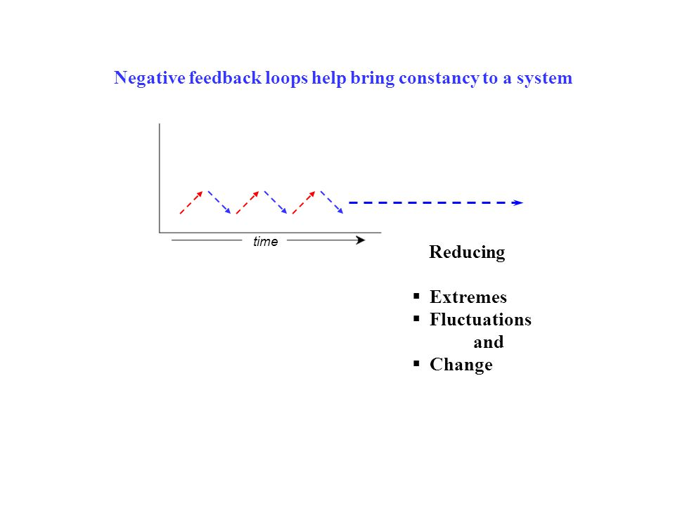 Negative feedback loops help bring constancy to a system time  Extremes  Fluctuations and  Change Reducing