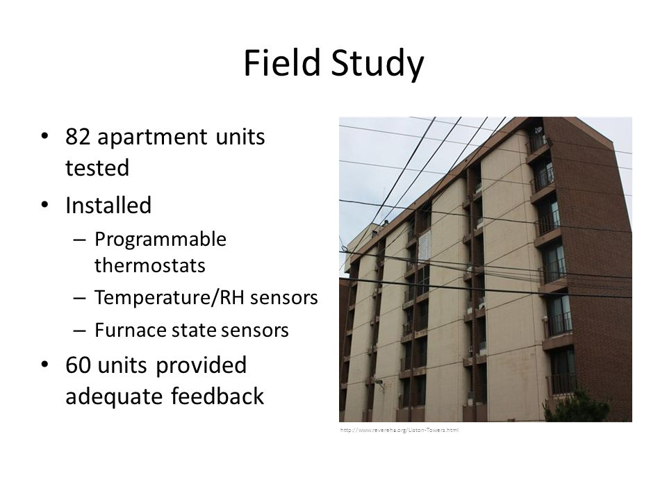 Field Study 82 apartment units tested Installed – Programmable thermostats – Temperature/RH sensors – Furnace state sensors 60 units provided adequate feedback http://www.revereha.org/Liston-Towers.html