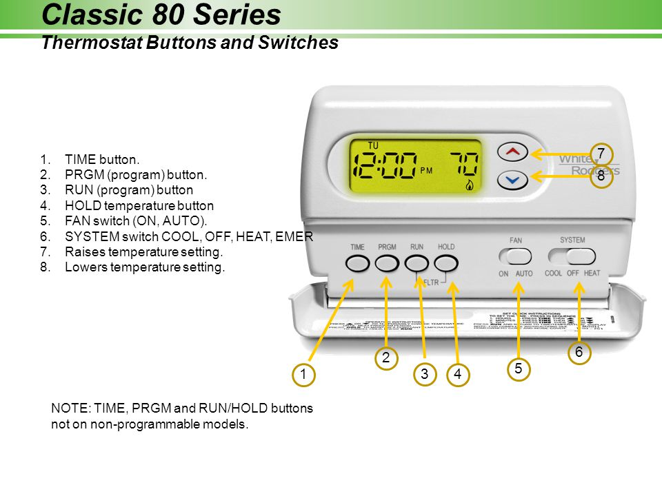 1.TIME button. 2.PRGM (program) button. 3.RUN (program) button 4.HOLD temperature button 5.FAN switch (ON, AUTO). 6.SYSTEM switch COOL, OFF, HEAT, EME
