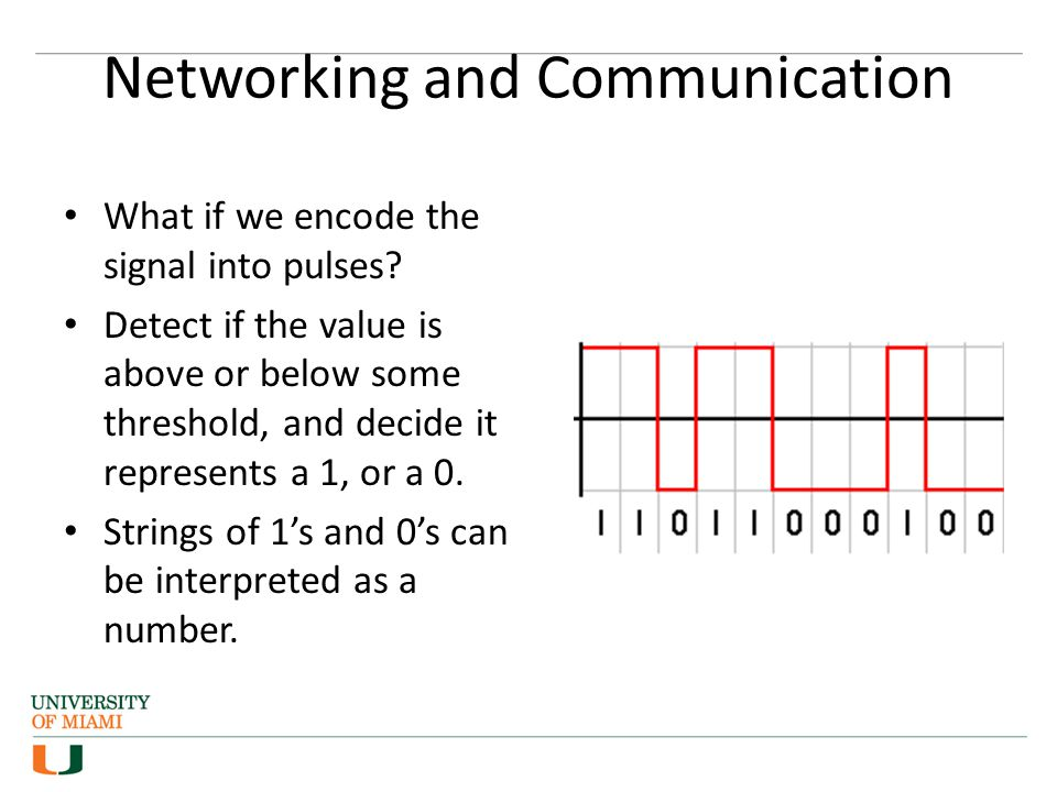 Networking and Communication What if we encode the signal into pulses.