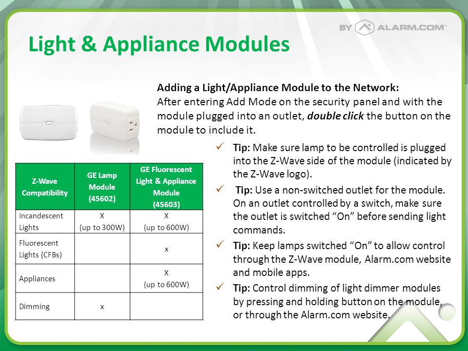 Light & Appliance Modules Tip: Make sure lamp to be controlled is plugged into the Z-Wave side of the module (indicated by the Z-Wave logo). Tip: Use