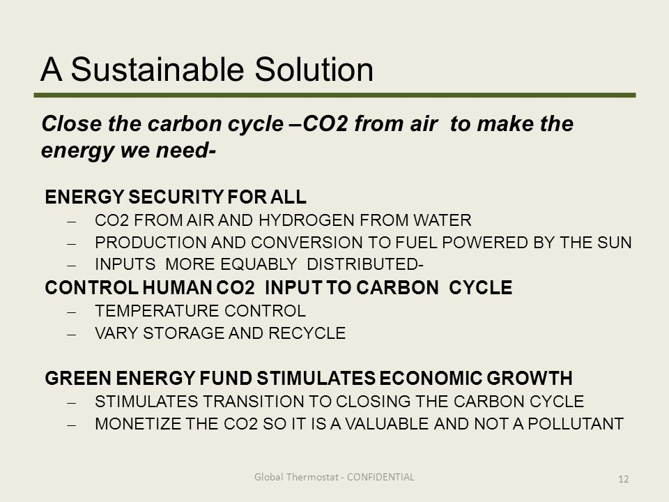 A Sustainable Solution ENERGY SECURITY FOR ALL ̶ CO2 FROM AIR AND HYDROGEN FROM WATER ̶ PRODUCTION AND CONVERSION TO FUEL POWERED BY THE SUN ̶ INPUTS