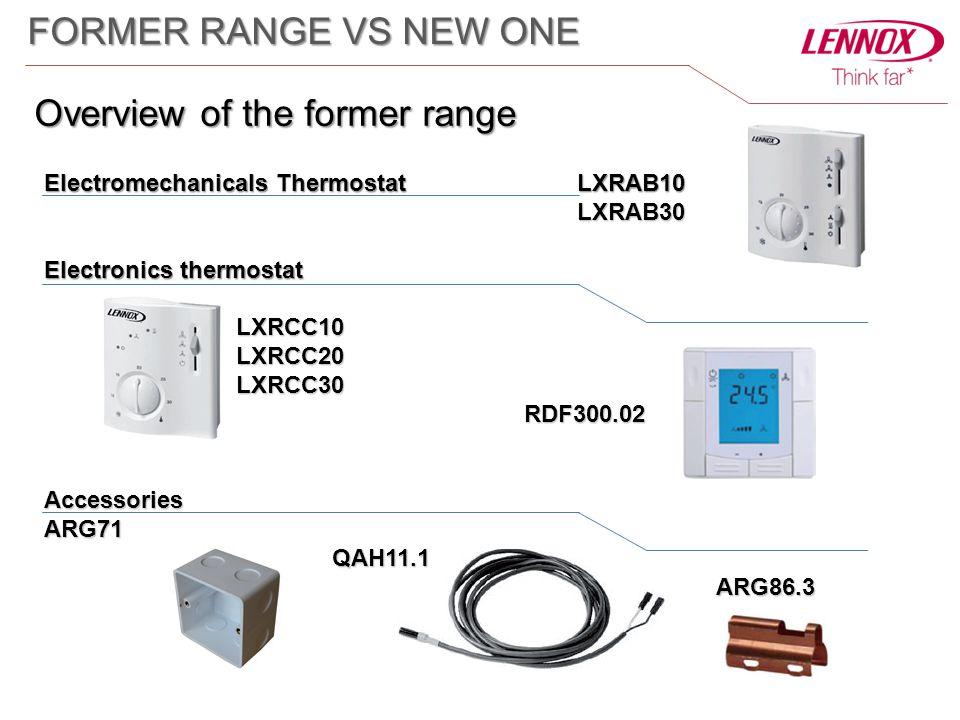 Electromechanicals Thermostat LXRAB10 LXRAB30 LXRAB30 Electronics thermostat LXRCC10LXRCC20LXRCC30RDF300.02AccessoriesARG71QAH11.1ARG86.3 FORMER RANGE