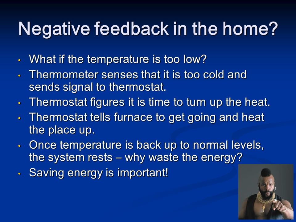 What if the temperature is too low? What if the temperature is too low? Thermometer senses that it is too cold and sends signal to thermostat. Thermom