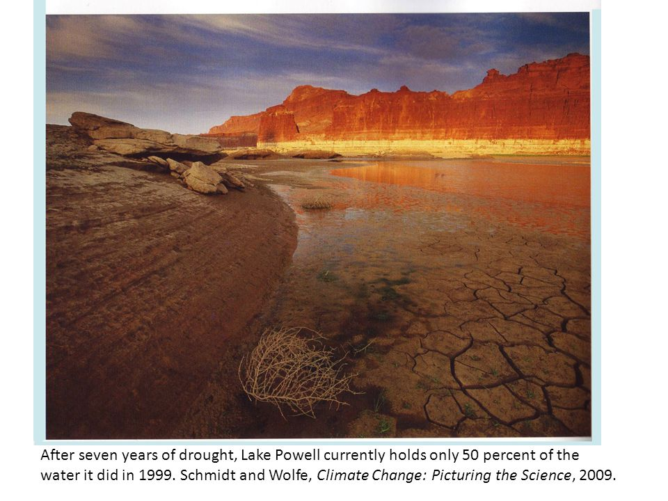 After seven years of drought, Lake Powell currently holds only 50 percent of the water it did in 1999. Schmidt and Wolfe, Climate Change: Picturing th