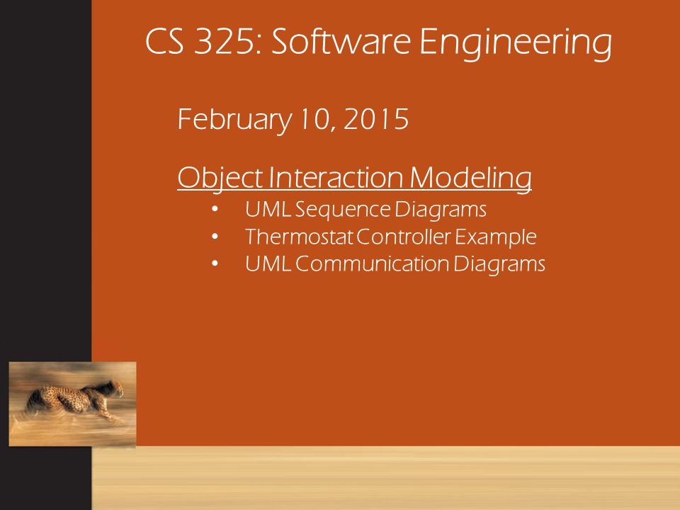Thermostat Controller Example CS 325 February 10, 2015 Page 81 Consider the embedded software for an industrial air conditioning unit.