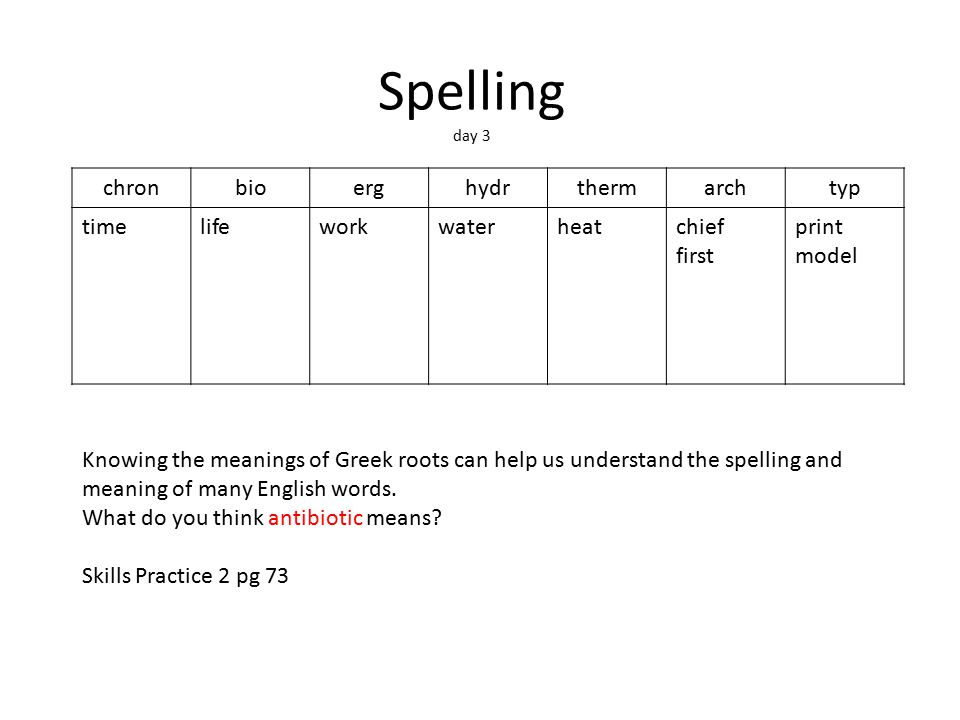 Spelling day 3 chronbioerghydrthermarchtyp timelifeworkwaterheatchief first print model Knowing the meanings of Greek roots can help us understand the spelling and meaning of many English words.