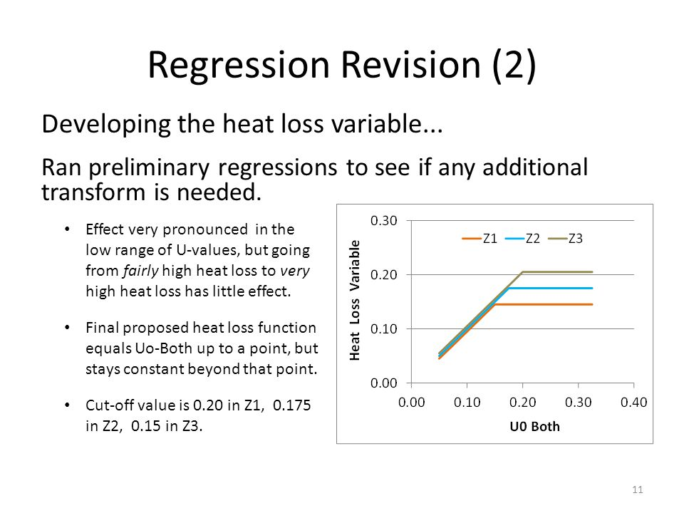 Regression Revision (2) Developing the heat loss variable...