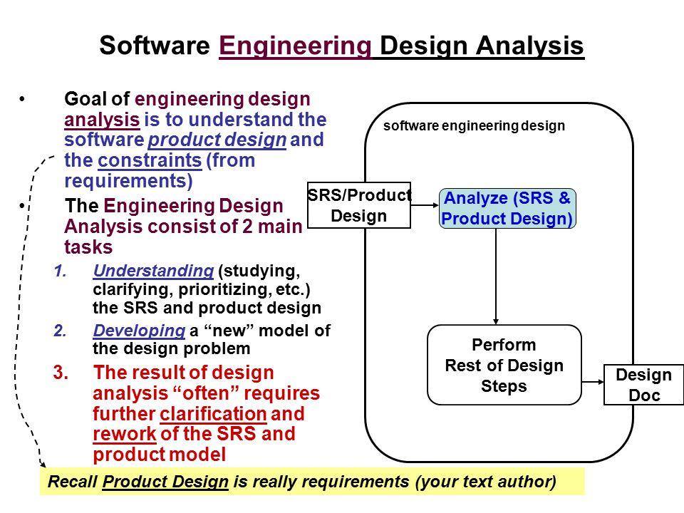 Software Engineering Design Analysis Goal of engineering design analysis is to understand the software product design and the constraints (from requir