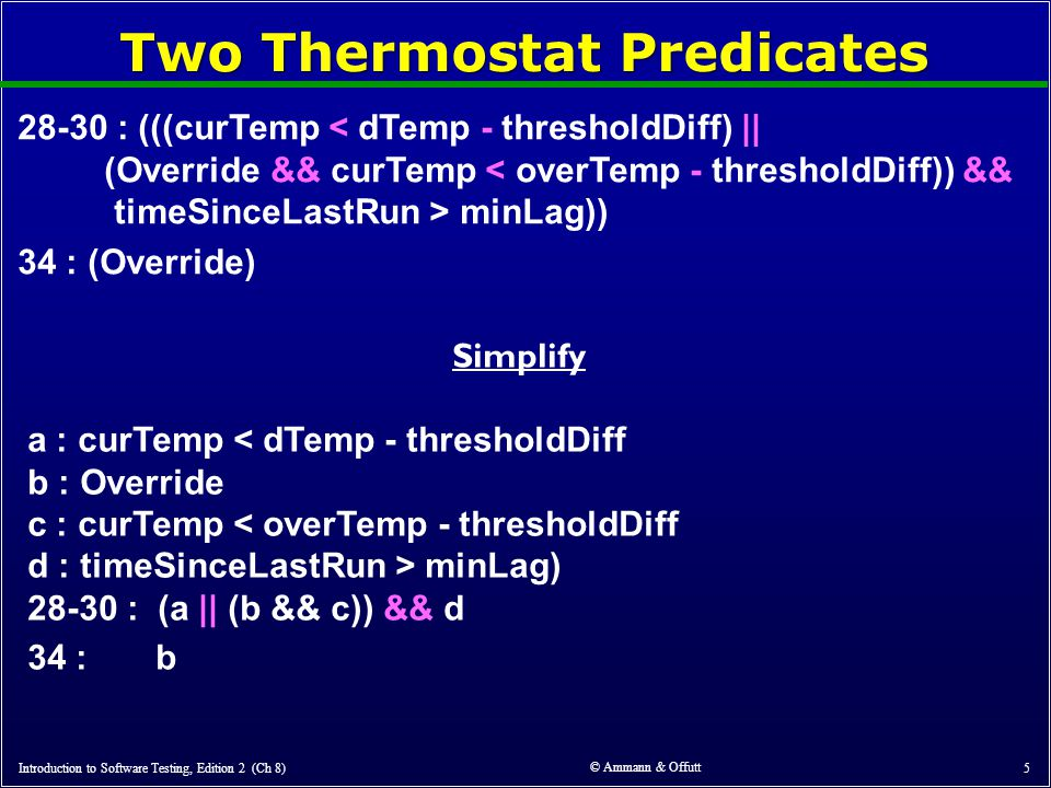 © Ammann & Offutt 5 Two Thermostat Predicates 28-30 : (((curTemp < dTemp - thresholdDiff) || (Override && curTemp < overTemp - thresholdDiff)) && timeSinceLastRun > minLag)) 34 : (Override) Introduction to Software Testing, Edition 2 (Ch 8) Simplify a : curTemp < dTemp - thresholdDiff b : Override c : curTemp < overTemp - thresholdDiff d : timeSinceLastRun > minLag) 28-30 : (a || (b && c)) && d 34 : b