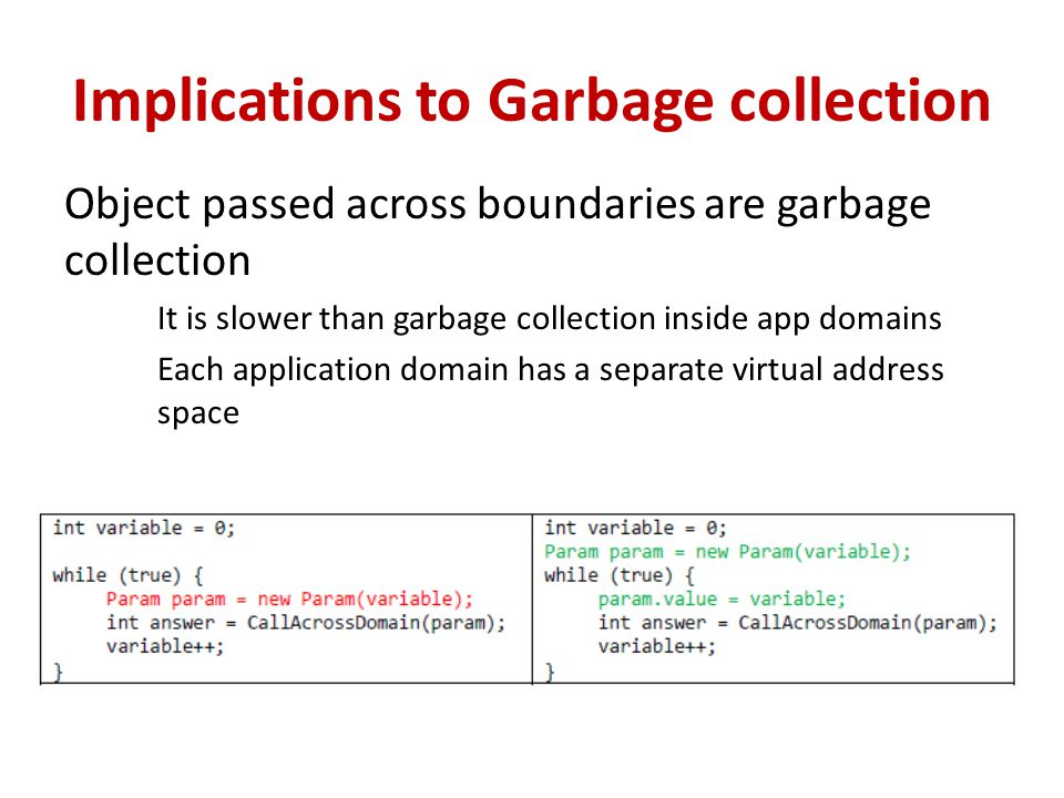 Implications to Garbage collection Object passed across boundaries are garbage collection It is slower than garbage collection inside app domains Each application domain has a separate virtual address space