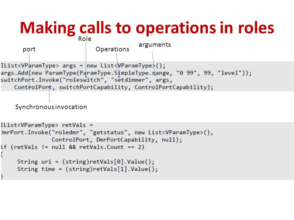 Making calls to operations in roles Synchronous invocation port Role arguments Operations