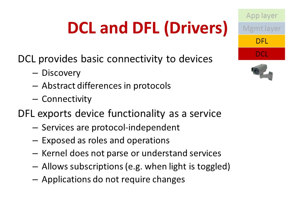 DCL and DFL (Drivers) DCL provides basic connectivity to devices – Discovery – Abstract differences in protocols – Connectivity DFL exports device functionality as a service – Services are protocol-independent – Exposed as roles and operations – Kernel does not parse or understand services – Allows subscriptions (e.g.