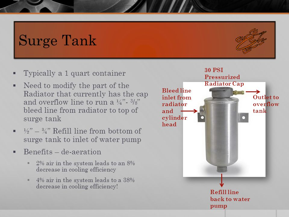  Typically a 1 quart container  Need to modify the part of the Radiator that currently has the cap and overflow line to run a ¼ - 3 / 8 bleed line from radiator to top of surge tank  ½ – ¾ Refill line from bottom of surge tank to inlet of water pump  Benefits – de-aeration  2% air in the system leads to an 8% decrease in cooling efficiency  4% air in the system leads to a 38% decrease in cooling efficiency.