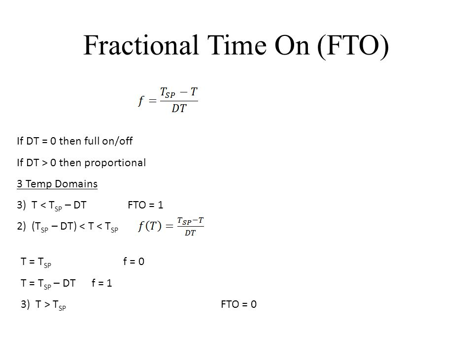 Fractional Time On (FTO) If DT = 0 then full on/off If DT > 0 then proportional 3 Temp Domains 3) T < T SP – DT FTO = 1 2) (T SP – DT) < T < T SP T = T SP f = 0 T = T SP – DT f = 1 3) T > T SP FTO = 0