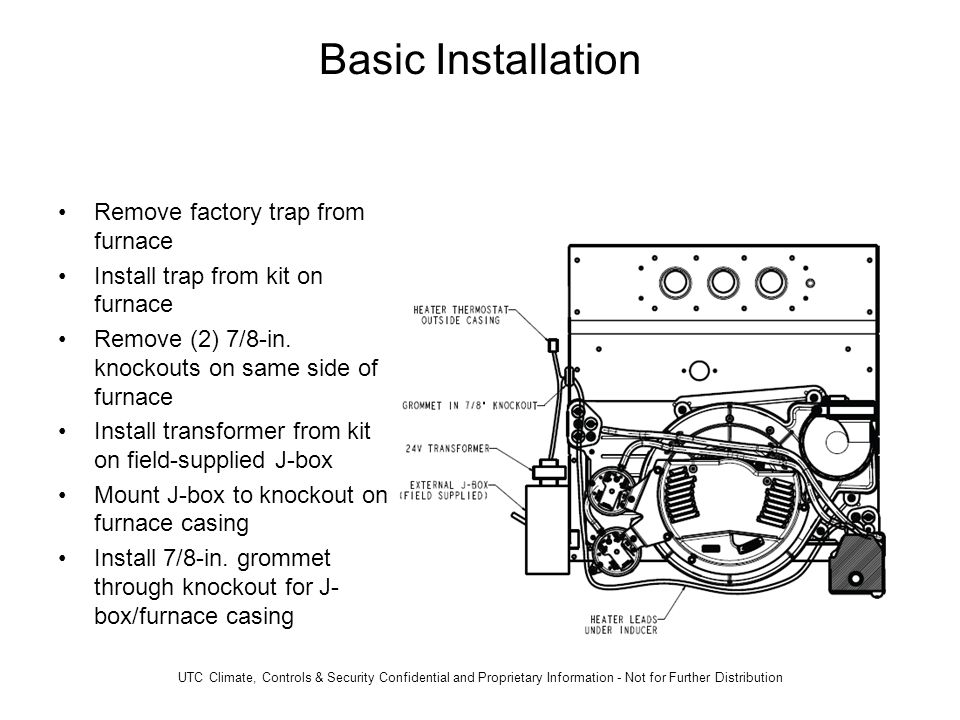Basic Installation Remove factory trap from furnace Install trap from kit on furnace Remove (2) 7/8-in.