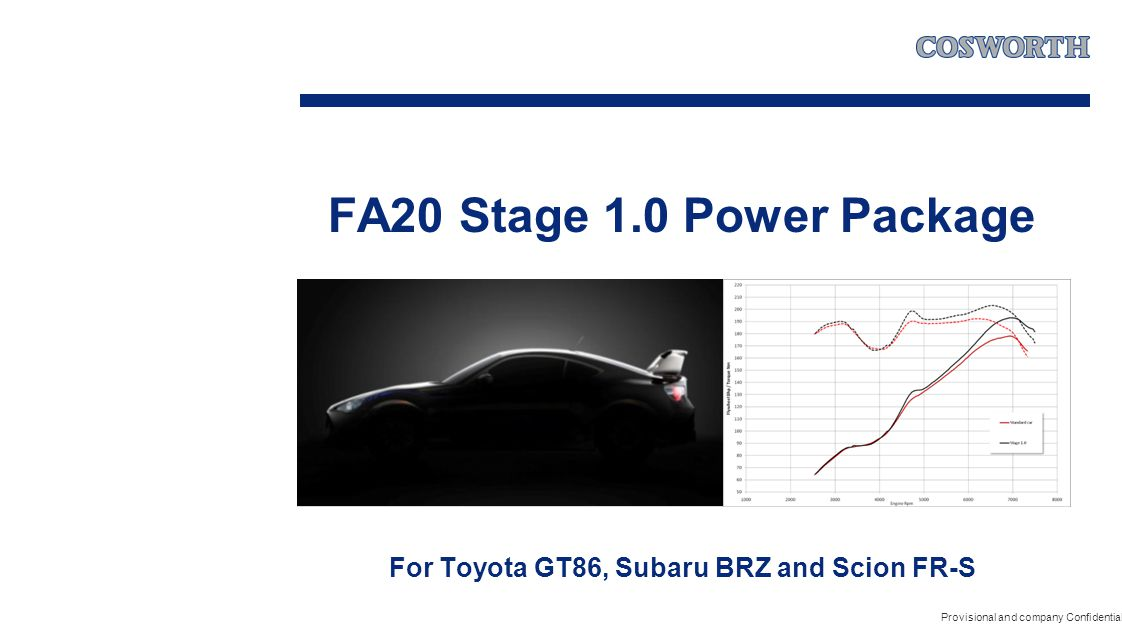 FA20 Stage 1.0 Power Package For Toyota GT86, Subaru BRZ and Scion FR-S Provisional and company Confidential